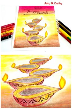 Easy Diwali Drawing /Diwali Diya Drawing /How to Draw Diwali Drawing This is super easy & simple drawings with pencil colours . Diwali Cards, Diwali Diy, Happy Diwali, Diwali Painting, Diwali Drawing, Painting For Kids, Drawing For Kids, Art For Kids, Oil Pastel Drawings