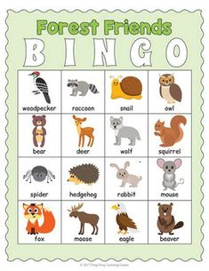 Printable Forest Animals Bingo Game animals silly animals animal mashups animal printables majestic animals animals and pets funny hilarious animal Forest Animal Crafts, Forest Animals, Woodland Animals, Animal Activities, Animal Games, Preschool Activities, Animales Que Migran, Forest Games, Forest Theme