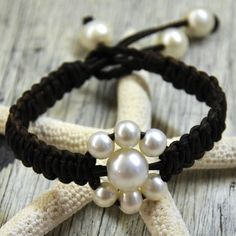 Pearl and Leather Bracelet Fleur by nicholaslandon on Etsy
