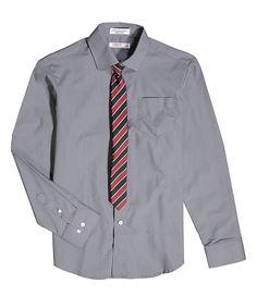 Silverware & Red Stripe Button-Up & Tie - Boys