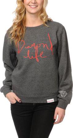 Diamond Supply Girls Diamond Life Charcoal Crew Neck Sweatshirt