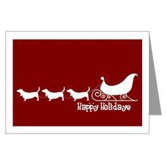 "Basset Hound ""Sleigh"" Greeting Card"
