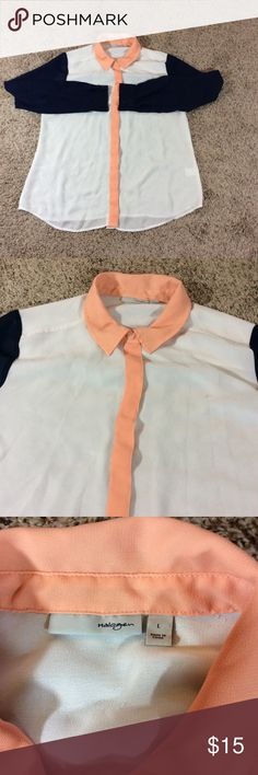 Halogen Nordstrom colorblock chiffon blouse Halogen button down chiffon blouse   Peach ivory and navy blue   Size large   100% polyester   Gently used Tops Blouses
