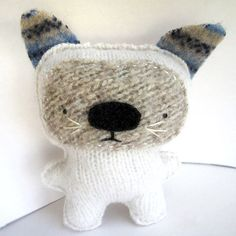 White Cat  Recycled Wool Plush Toy by sighfoo on Etsy, for the fur babies