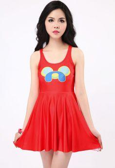Red Smile Dog Fashion Skater Dress