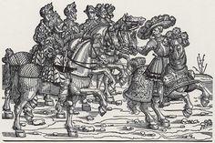 Artist: Breu, Jörg d. Ä., Title: »Einzug Kaiser Karls V. in Augsburg«, Hauptmann und sechs berittene Armbrustschützen, Date: 1530