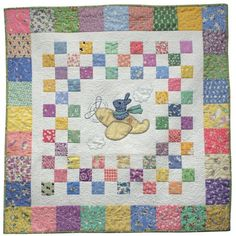 Pattern -- Bunny in the Sky Baby Quilt Pattern -- Airplane Bunny Pattern -- Traditional Paper Quilt Pattern -- Hand or Fusible Baby Quilt Quilt Baby, Baby Quilt Patterns, Quilting Patterns, Owl Patterns, Tatting Patterns, Hand Quilting, Quilting Projects, Quilting Designs, Airplane Quilt