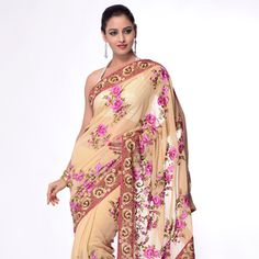 Light Beige Faux Georgette Saree With Blouse