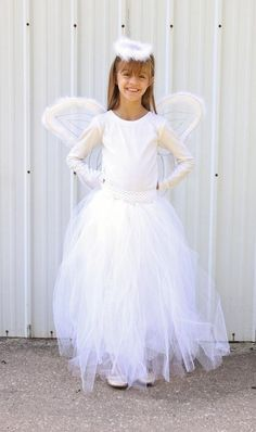 Kids lace angel costume spirithalloween spook it diy fairy costume diy angel skirt diy halloween solutioingenieria Image collections