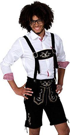 #Almwerk #Herren #Trachten #Lederhose #kurz #Modell #Hipster, #Farbe:Schwarz