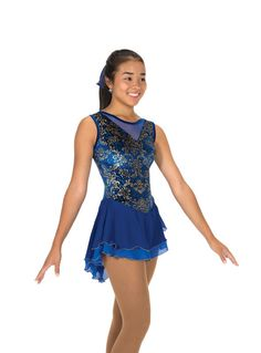 New Competion SKating Dress BELLE BOW BLUE MADE ORDER 3 WEEKS FABRICATION -239