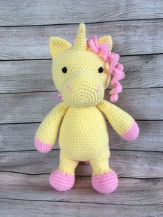 Crochet Unicorn, Little Unicorn, Pink Accents, Little My, Embroidery Thread, Hello Kitty, My Etsy Shop, Horses, Fantasy