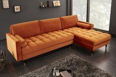 Luxusná rohová sedačka hrdzavá hnedá. Angles, Ottoman, Couch Design, Chesterfield, Velvet, Layout, Cozy, Furniture, Home Decor