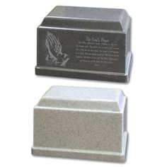"For the best in Cultured Granite Urns, look no further. Available in Dark Granite and Light Granite. It is also available engraved with stock images for only an additional $19. Outer Dimensions: 11.3"" W x 7.9""D x 7.2""H , 230 C.I. Custom Engraving available for an additional $34"