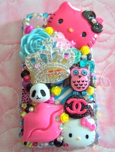 BLING Pink Kitty Decoden Kawaii/ Iphone 4/4S by KitschyGirlLuxe, $55.00