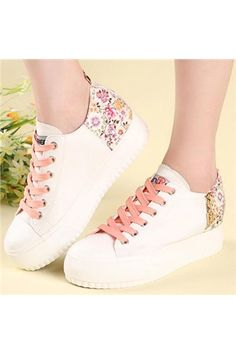 promo code b269f f6980 shoespie.com Offers High Quality Sweet Flower Print in-elevator Canvas  Shoes ,Priced
