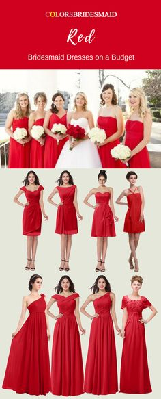 These knee-length and floor-length red bridesmaid dresses are sold under 100 and will make you be on a budget. They can be custom made to all sizes including all sizes. What affordable bridesmaid dresses they are! Christmas Bridesmaid Dresses, Emerald Bridesmaid Dresses, Red Bridesmaids, Affordable Bridesmaid Dresses, Wedding Dresses, Maid Of Honour Dresses, Wedding Ideas, Boho Wedding, Wedding Planning