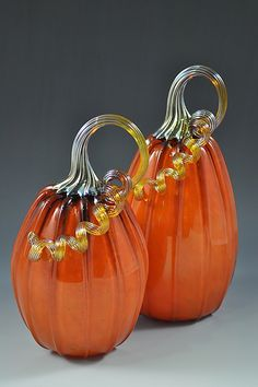 Large Gourd in Classic Orange: Drew Hine: Art Glass Sculpture - Artful Home