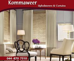 Curtains are always a great choice to add style, privacy and light control to your home. Contact #Kommaweer for assistance with custom-made curtains. Contact us on 044 870 7510 for more information. #Curtains #lifestyle