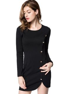 afdcfa473b38 Solid Buttons Pencil Above Knee Bodycon Dress. Women s Fashion ...