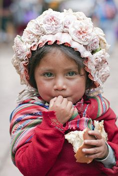 Little girl from Pisac, Peru, in the Sacred Valley of the Incas