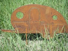 Rusted Rustic Metal  Vintage Camper Travel Trailer Garden Critter with metal stake on Etsy, $14.00
