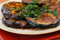 Spicy Grilled Eggplant Recipe with Red Pepper, Parsley, and Mint