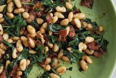Cannellini Beans with Pancetta & Spinach | The Splendid Table