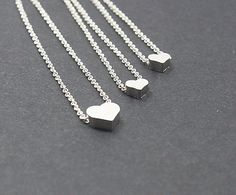 Mother Daughter Silver Heart Necklace Set 2,3,4,5- Mom Daughter Jewelry .STERLING SILVER Etsy,Three Sister Gift ,Grandmom, Mommy Jewelry on Etsy, $39.99