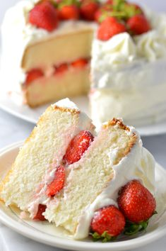 Easy strawberry layer cake recipe made from scratch! White cake with buttercream frosting, this is perfect for Canada Day, Valentine's Day or any other special occasion.