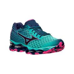 Mizuno Women's Wave Prophecy 4 Running Shoes, Blue|Green ($170) ❤ liked on Polyvore featuring shoes, athletic shoes, green athletic shoes, cocktail shoes, infinity shoes, shock absorbing running shoes and heart shoes