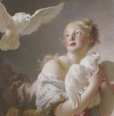 1760 Jean-Honoré Fragonard (French Rococo,1732–1806) ~'Girl Holding a Dove'(said to be a Portrait of Marie-Catherine Colombe)