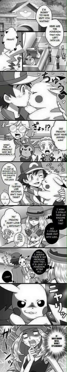 Ash Ketchum and Pikachu ^.^ ♡ #Amourshipping ^.^ ♡ I give good credit to whoever made this and it's so funny