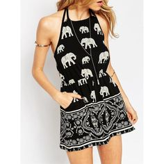 SheIn(sheinside) Black Halter Elephant Tribal Print Playsuit ($14) ❤ liked on Polyvore featuring jumpsuits, rompers, dresses, black, halter romper jumpsuit, elephant romper, tribal print romper, tribal jumpsuit and romper jumpsuit