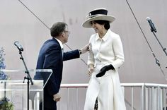 Crown Princess Mary at the christening of the container ship