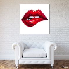 Luscious Lips Bite Canvas Print Red Wall Decor Modern Art