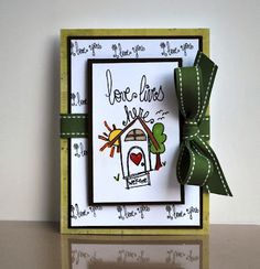 stamp of the week from unity stamp company - {love lives here} - drawn by unity artista and design team member angie blom - card created by unity design team member shemaine smith
