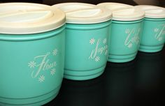 Vintage 1950s Turquoise Canister Set Shabby Cottage Chic 1960s Retro Mid Century