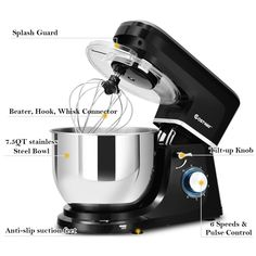 This is stylish food stand mixer which is great for your kitchen. It comes with dough hook, beater, whisk and Qt stainless steel bowl. Powerful 660 watt motor and variable speeds guarantee freshness and smoothness of food, an Electric Foods, Stainless Steel Bowl, Stand Mixer, Kitchen Aid Mixer, Tilt, Stand Mixers
