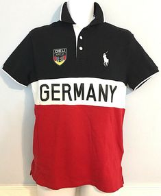 8d1989b9c Details about Ralph Lauren Polo Shirt Team GERMANY Black Red World Cup  Cotton size Small