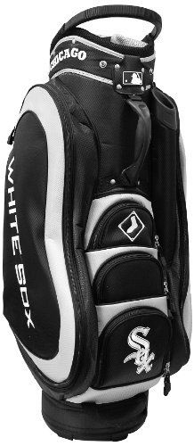 MLB Chicago White Sox Medalist Cart Bag, Black by Team Golf. $149.99. 50% nylon/50% plastic. Padded strap with strap pouch and fleece-lined valuables pouch. External putter well and 3 lift assist handles. Removable rain hood and umbrella holder and towel ring. 8 location embroidery and 5 zippered pockets. Integrated top handle and 14-way full length dividers. This bag is loaded with features, including integrated top handle, 14-way full length dividers, 8 location em...