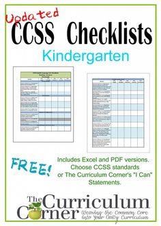 Common Core Checklists for Kindergarten | Free from www.thecurriculumcorner.com | CCSS & I Can Statement versions | progress monitor |assess...