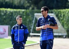Gianluigi Buffon(R) and Sebastian Giovinco during Italy Training Session at Coverciano on October 6, 2014 in Florence, Italy.