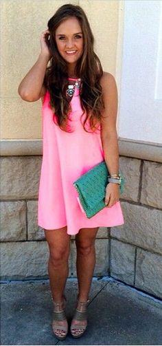 Candy Color Loose Sleeveless Chiffon Short Dress