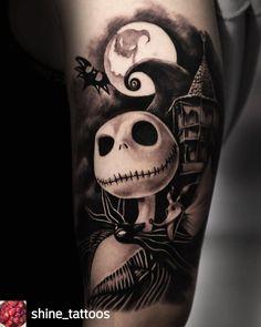 Emo Tattoos, Skull Tattoos, Disney Tattoos, Love Tattoos, Body Art Tattoos, Tattoos For Guys, Tatoos, Tattoo Nightmares, Nightmare Before Christmas Movie