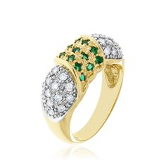 14kt yellow and white gold, emerald and diamond ring.
