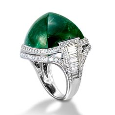 De Boulle Collection Tourmaline Art Deco-dence Ring Exceptional in design, a lush green sugarloaf tourmaline rests atop an array of diamonds in white gold. Emerald Jewelry, High Jewelry, Diamond Jewelry, Gemstone Jewelry, Gold Jewelry, Jewelry Rings, Emerald Rings, Jewelry Shop, Handmade Jewelry