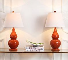 Amazon.com: Safavieh Lighting Collection Cybil Blood Orange Double Gourd 26.5-inch Table Lamp (Set of 2): Home & Kitchen