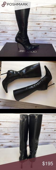 """JIMMY CHOO batik tall black Boots - sz. 40 / 10 These gorgeous JIMMY CHOO Batik Tall Black Boots are in great condition and are previously worn. The front part of the soles have been re-done for additional support.  The boot Height is 14"""", and the heel height is 4"""".  The Original Box is included, however the Dust Bag is no longer available. Jimmy Choo Shoes Heeled Boots"""