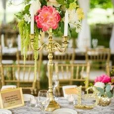 Morgan & Chris | No Regrets Events Gold candelabra  with Pink, white, green and a hint of yellow! Perfect for a sweet spring wedding!